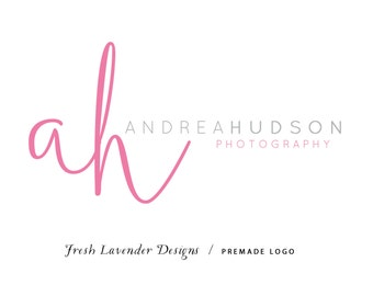 Custom Logo Design Premade Logo and Watermark for Photographers and Small Businesses Pink Hand Drawn Monogram Classic Text Logo