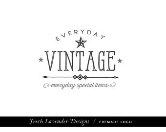 Custom Logo Design Premade Logo and Watermark for Photographers and Small Businesses Hand Drawn Classic Logo with Nautical Stars Vintage