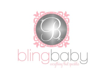 Custom Logo Design Premade Logo and Watermark for Photographers and Small Businesses Framed Bling Logo with Sparkles Shabby Chic Whimsical