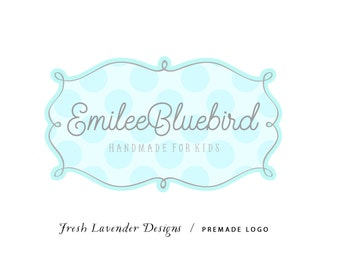 Custom Logo Design Premade Logo Design and Watermark for Photographers and Small Businesses Hand Drawn Frame with Polkadots Whimsical
