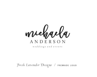 Custom Logo Design Premade Logo and Watermark for Photographers and Small Businesses Hand Drawn Script Text Classic Name Only