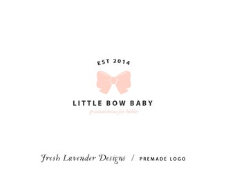 Custom Logo Design Premade Logo and Watermark for Photographers and Small Businesses Classic Black & Pink with Bow Little Girl Bow Boutique