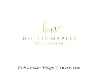 Custom Logo Design Premade Logo and Watermark for Photographers and Small Businesses Monogram with Hand Drawn Text Classic Gold Foil