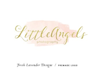 Custom Logo Design Premade Logo and Watermark for Photographers and Small Crafty Businesses Watercolor Brush Stroke with Glitter Text Chic