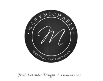 Custom Logo Design Premade Logo and Watermark for Photographers and Small Businesses Round Chalkboard Frame with Monogram Vintage Style