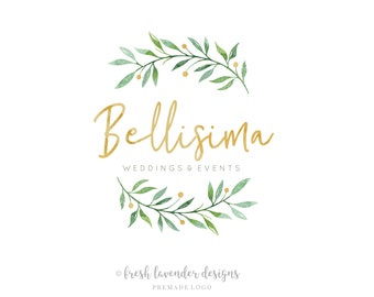 Leafy Logo, Custom Logo, Premade Logo, Logo Designer, Logo with Berries, Twig Logo, Logo with Leaves, Photography Logo, Wedding Logo