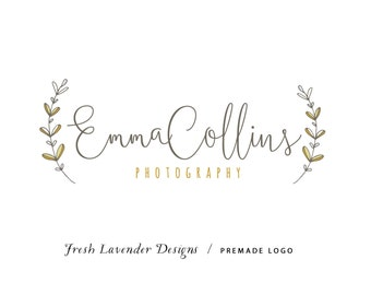 Custom Logo Design Premade Logo and Watermark for Photographers and Small Crafty Businesses Hand Drawn Leaves with Handwritten Text Shabby
