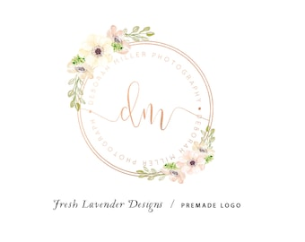 Custom Logo Design Premade Logo Design and Watermark for Photographers and Small Businesses Hand Drawn Rose Gold Monogram  Watercolor Floral