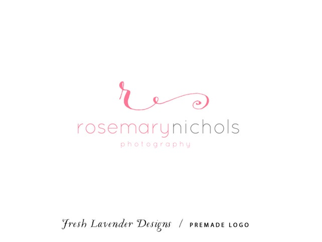 Custom Logo Design Premade Logo and Watermark for Photographers and Small Businesses Monogram Initial Script with Text Only Logo Classic