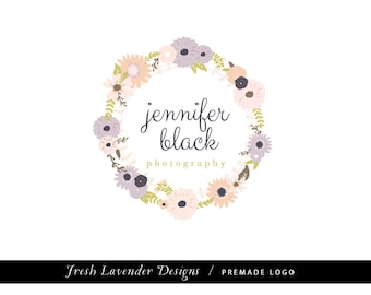 Custom Logo Design Premade Logo and Watermark for Photographers and Small Businesses Hand Drawn Floral Wreath Shabby Chic Vintage