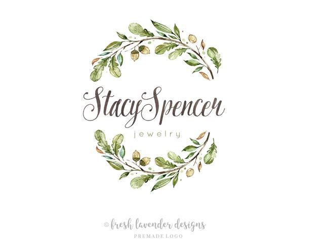 Leaf Logo, Watercolor Leaves Logo, Custom Logo, Logo Designer, Wreath Logo, Wedding Logo, Photgraphy Logo, Affordable Logo, Watermark
