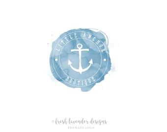 Anchor Logo, Premade Logo, Nautical Logo, Custom Logo, Logo Design, Logo with Anchor, Boat Logo, Photography Logo, Watercolor Logo