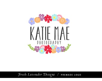 Custom Logo Design Premade Logo and Watermark for Photographers & Small Businesses Hand Drawn Flower Laurels Colorful Whimsical Shabby Chic