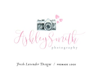 Custom Logo Design Premade Logo Design and Watermark for Photographers and Small Businesses Watercolor Camera with Hearts