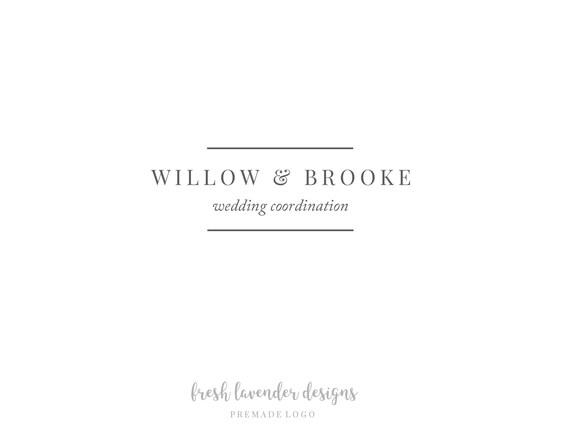 Classic Premade Logo, Custom Logo, Personalized Logo, Text Only Logo, Premade Wedding Logo, Wedding Logo, Classic Premade Watermark