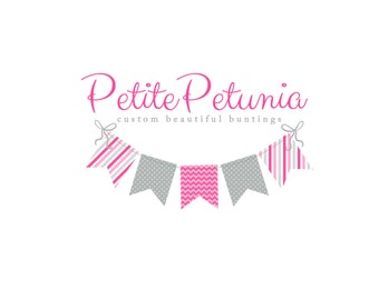 Custom Logo Design Premade Logo and Watermarks for Photographers and Small Crafty Boutiques Pattern Bunting Polka Dots and Stripes Whimsical