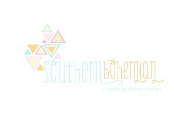 Custom Logo Design Premade Logo and Watermark for Photographers and Small Craft Boutiques Bohemian Hand Drawn Triangles Shabby Chic