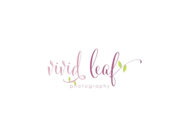 Custom Logo Design Premade Logo and Watermark for Photographers and Small Business Owners Shabby Chic Text with Hand Drawn Leaves