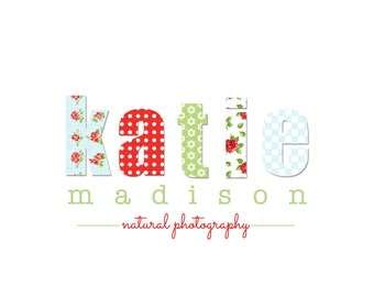 Custom Logo Design Premade Logo and Watermark for Photographers and Small Business Owners Shabby Chic Patchwork Vintage Print