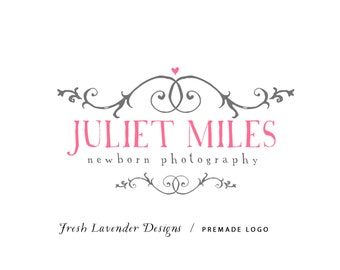 Custom Logo Design Premade Logo and Watermark for Photographers and Small Crafty Businesses Hand Drawn Text with Flourishes Shabby Chic