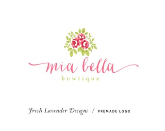 Custom Logo Design Premade Logo and Watermark for Photographers and Small Crafty Businesses Hand Drawn Watercolor Roses Shabby Chic