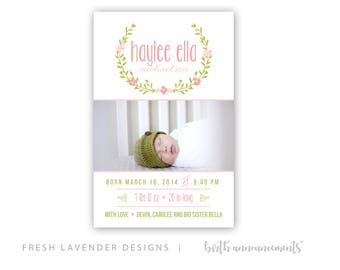 Birth Announcement - Baby Announcement - Girl Birth Card - Printable - Laurel Watercolor Hand Drawn Baby Girl Announcement