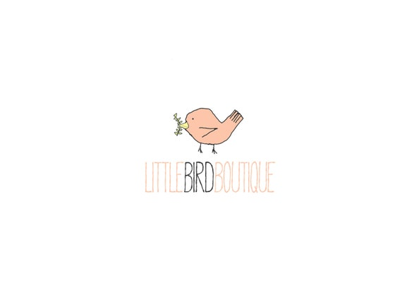 Custom Logo Premade Logo with Watermark for Photographers and Small Crafty Boutiques Scalloped Frame with Bunting and Banner Whimsical
