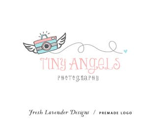 Custom Logo Design Premade Logo and Watermark for Photographers and Small Crafty Businesses Hand Drawn Camera with Wings