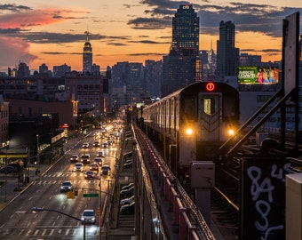 New York Skyline from Queens - 7 Train Subway - MTA at Sunset - New York City Photography