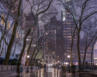 Bryant Park During the Rain - Magical New York in the Fog - New York at Night - New York City Photography