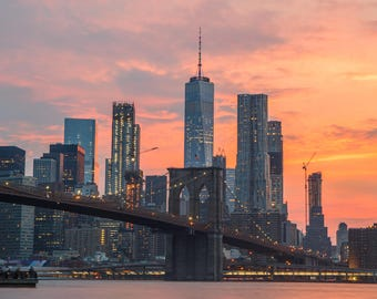 5b9848b9 Stunning Orange Sunset at the Brooklyn Bridge - Lower Manhattan - Dumbo  Brooklyn - New York City Photography