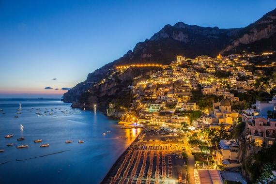 Positano At Night Amalfi Coast Beach Photography Italy Photography