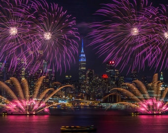 Fireworks over the Hudson River - Manhattan Fireworks Display - New York at Night - New York City Photography
