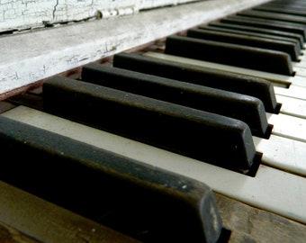 Vintage Piano Photography, Abandoned Piano, Ivory Keys, Musical Photography, Macro Photography, Photo by Abby Smith, Home Decor, Piano Art