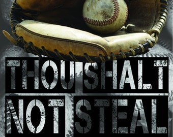 Baseball Decal, Baseball Wall Sticker, Baseball Catcher Decal, Thou Shalt Not Steal, Vinyl Wall Decal, Baseball Decor, Baseball Wall Art,