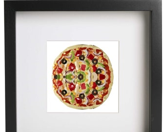Art Print, Pizza Art Print, Pizza Decor, Symmetrical Pizza, Geometrical Art. Polygonal Art, Pizza, Infinite Graphics, Geometric Design, Art