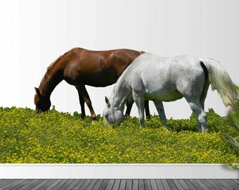Wall Decals, Summer Horses, Farm Landscape Photo, Photography, Photo by Abby Smith, Home Decor, Vinyl Wall Decal, Infinite Graphics, Sticker