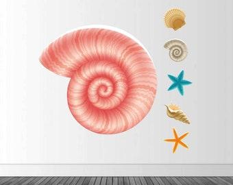 Seashell Wall Decal, Seashell Decor, Vinyl Wall Decal, Seashell Decal, Ocean Theme Decals, Vinyl Graphics, Infinite Graphics, Starfish Decal