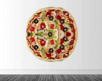 Pizza Wall Decal, Geometric Pizza, Polygonal Pizza, Infinite Graphics, Home Decor, Pizza Art, Symmetrical Pizza, Wall Art, Vinyl Wall Decal
