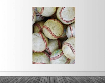 Baseball Vinyl Decal, Baseball Wall Decal, Baseball Decor, Baseballs, Baseball Photo Mural, Vinyl Wall Decal, Removable Sticker, Sports Art