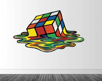 Rainbow Cube Wall Decal, Melting Cube Decal, Vinyl Wall Decal, Vinyl Graphics, Infinite Graphics, Bedroom Decor, Wall Sticker, Home Decor