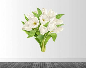 Floral Wall Decal, Tulip Wall Decor, White Tulips, Vinyl Wall Decal, Vinyl Wall Graphic, Floral Wall Sticker, Infinite Graphics, White Tulip