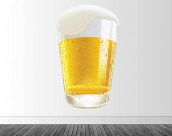 Beer Wall Decal, Bar Decor, Beer Glass Decal, Vinyl Wall Decal, Infinite Graphics, Vinyl Graphics, Wall Art, Home Decor, Beer Lover Decor
