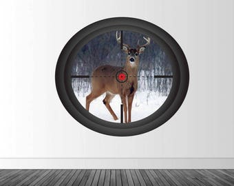 Deer Hunting Decal, Deer Wall Graphics, Gun Site View, Vinyl Wall Decal, Interior Wall Graphics, Removable Decals, Wildlife  Decor,