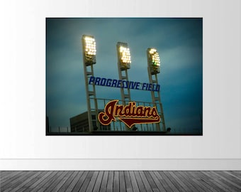 Indians Baseball Decal, Progressive Field Mural, Under the Lights, Photo by Abby Smith, Sports Photography, Baseball Wall Art, Vinyl Graphic