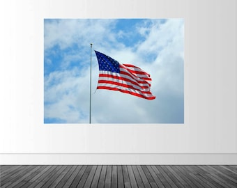 American Flag Mural, Americana Decor, Patriotic Wall Decal, Home Decor, Vinyl Wall Decal, Photo by Abby Smith, American Flag Wall Decal