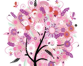 Pink Flowering Tree Decal, Tree Decal, Vinyl Tree Decal, Floral Wall Decal, Vinyl Wall Sticker, Vinyl Graphics, Removable Decal,
