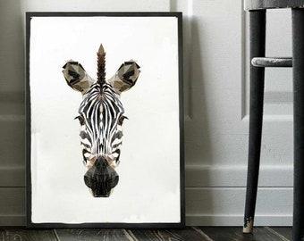 Zebra Print, Polygonal Art, Abstract Print, Zebra Art, Symmetric Design, Modern Art, Contemporary Art, Design by Abby Smith, Geometric Art