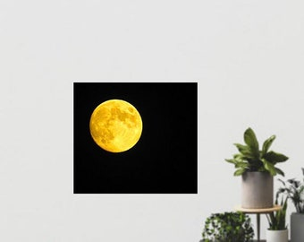 Moon Photography, Full Moon Photography, Harvest Moon, Yellow Moon, Macro Moon Photo, Photo by Abby Smith, Home Decor, Unframed Moon Photo