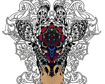 Adult Coloring, Giraffe Wall Decal, Doodle Decal, Color My Wall Decal, Vinyl Decal, Do it Yourself Wall Mural, Coloring,